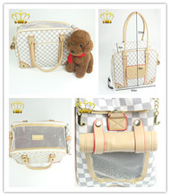 Waffle Weave Design Fashion Leather Pet Tote Bag