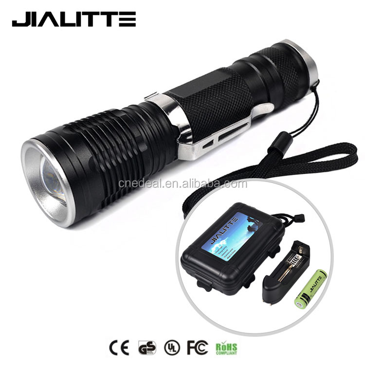 Jialitte F092 18650 Battery & Charger Aluminum Alloy LED Waterproof Flashlight CREES XML-T6 1000lm Zoomable Flashlight