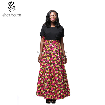 2017 African hot girl summer skirt batik fabric print casual style