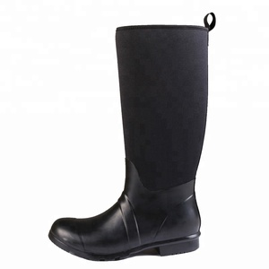 Man work boots with steel toes and handle ,black muck man neoprene safety rubber rain boots