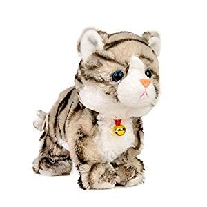 Electronic Toy Cat Kitten Pet Robot Cat Interactive For Children Kids Funny Walking Meow Sound Toys Plush Cat (Gray)
