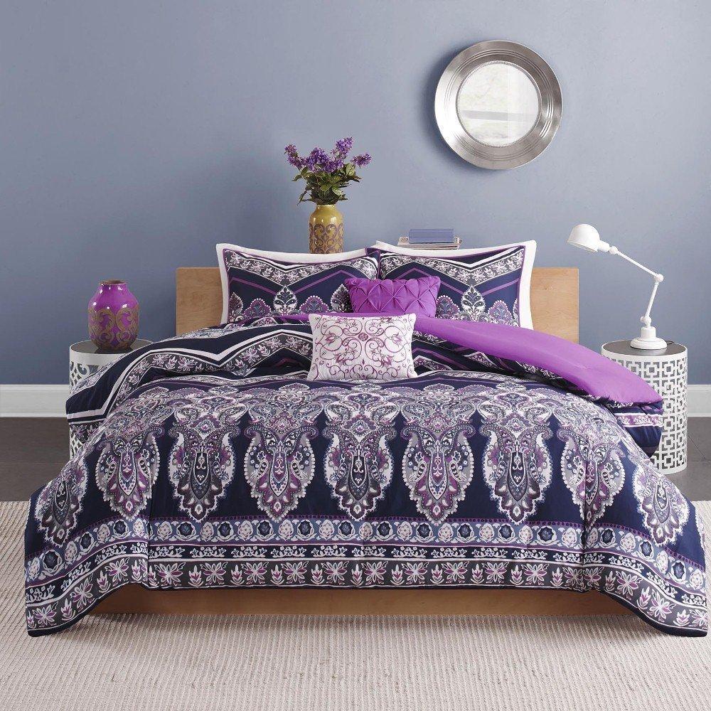 UNK 4pc Girls Navy Blue Purple Medallion Theme Chevron Comforter Twin XL Set, Girly Damask Floral Zigzag Bedding, Boho Chic Bohemian Zig Zag Motif Themed Pattern, Plum Violet Off White