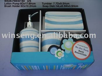 New Item Blue Striped Pattern Decorative Dolomite Bathroom Set for Home Decoration 4pcsWS28-FB930180