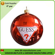 High quality 6 inch personalized plastic logo christmas balls