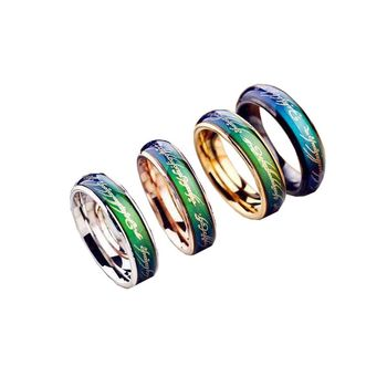 2019 Fashion Ring Men Gold 6MM Color Changing With Temperature Stainless Steel Titanium Ring