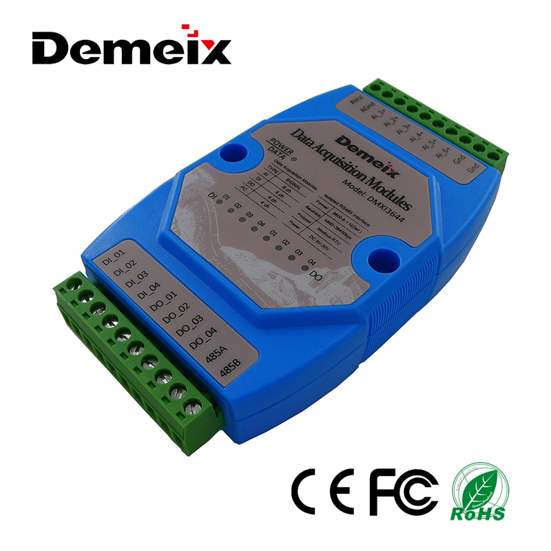 D-RS485 I/O Data acquisition module 6-channel analog input 4 isolated digital inputs relay and ethernet pt100 factory supplier