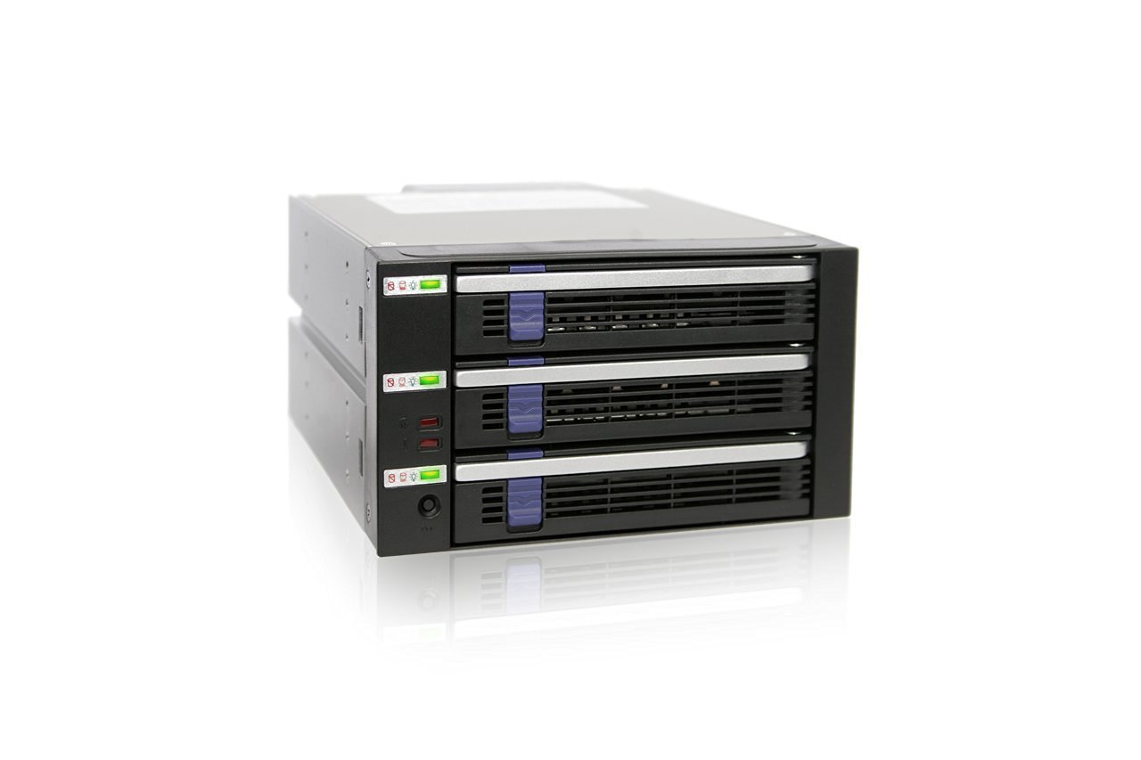 ICY DOCK 5 Bay EZ-Tray 3.5 SATA Hard Drive Advance Monitoring Backplane Cage in 3 x External 5.25 Bay DataCage Classic MB455SPF-B