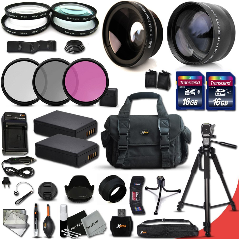 Ultimate 33 Piece Accessory Kit for Canon EOS T5 T3 1200D 1100D Kiss X70 Kiss X50 DSLR Cameras Includes: 58mm High Definition 2X Telephoto Lens + 58mm High Definition Wide Angle Lens + 2 High Capacity LP-E10 LPE10 Batteries with Quick AC/DC Charger + 32GB High Speed Memory Card (2x 16GB) + 58mm 4