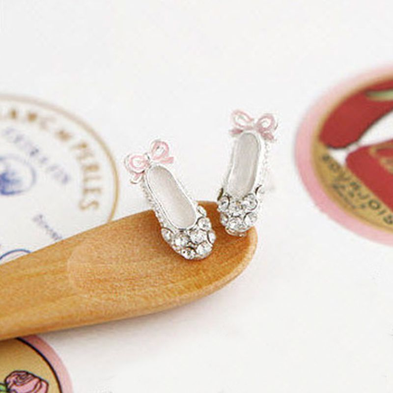 Hot sale1 Pair Stunning Lovely Earbob Cute Ballet Shoes Bowknot Rhinestone Earrings Stud CMHM251