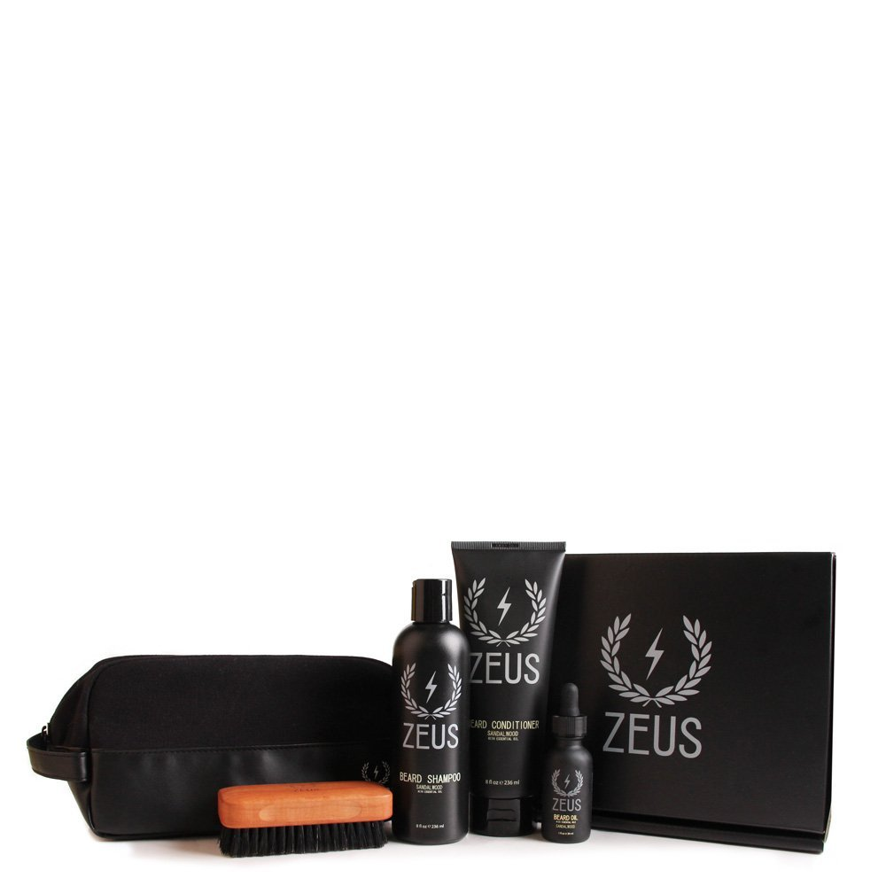 Zeus Deluxe Beard Care Dopp Kit - Men's Travel Beard Grooming Set with Toiletry Bag! (Scent: Sandalwood)