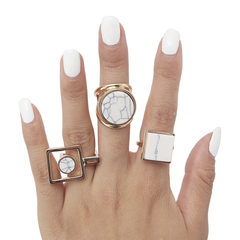 New Fashion Trend Geometric Round Square Marble girl fashion jewelry <strong>ring</strong>