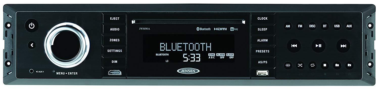 JENSEN JWM90A Mobile Audio System, 160 Watts Maximum Power Output, Digital AM/FM Tuner/30 Preset stations (12AM/18 FM), Bluetooth Ready with A2DP/AVRCP Streaming Audio, APP Ready