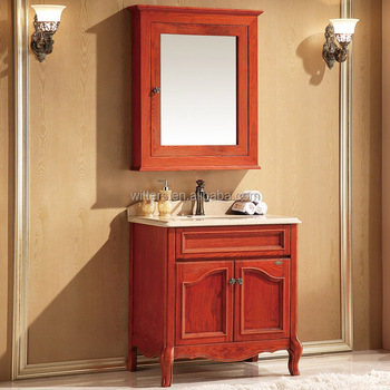 Wts 8222 Asian Bathroom Furniture Single Sink Red Vanity Cabinets With Floating Option Countertop