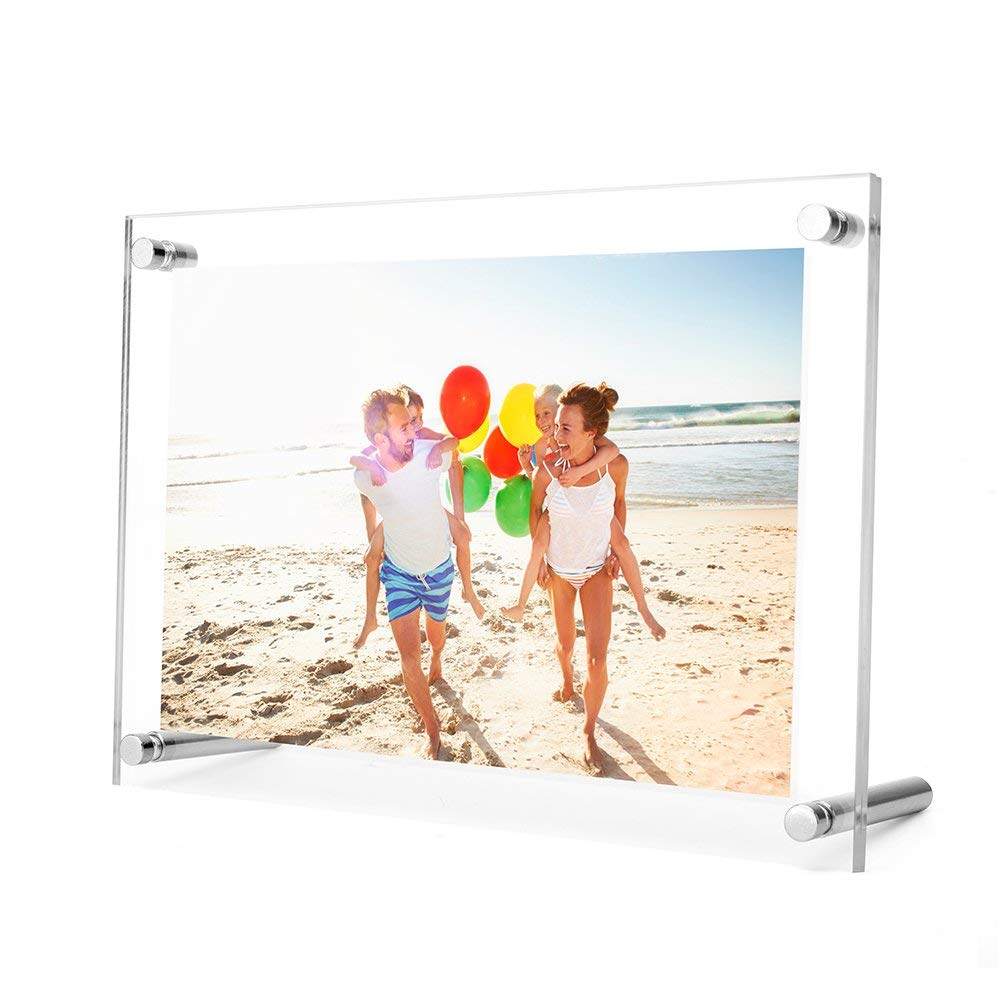 TWING 8.5 x 11Acrylic Picture Frame ,Clear Desktop Frameless Acrylic Photo Frame with Standoff