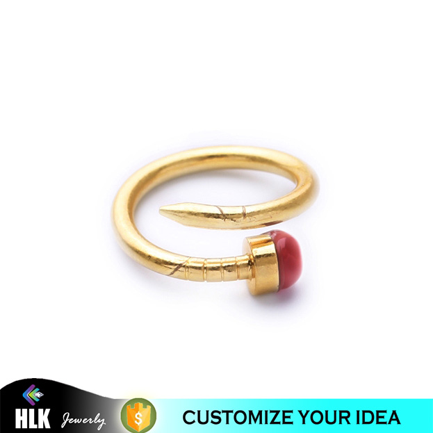 Hot Sell New Fashion Copper Gold Plating Color Red Stone Silber Ring