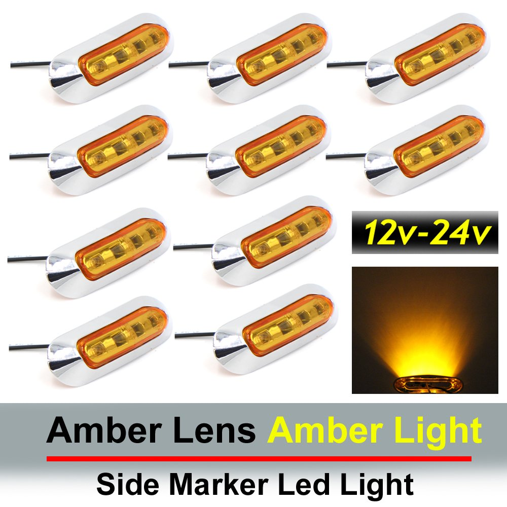 "10 pcs TMH 3.6"" submersible 4 LED Amber Lens Light Side Led Marker 10-30v DC , Truck Trailer marker lights, Marker light amber, Rear side marker light, Boat Cab RV"