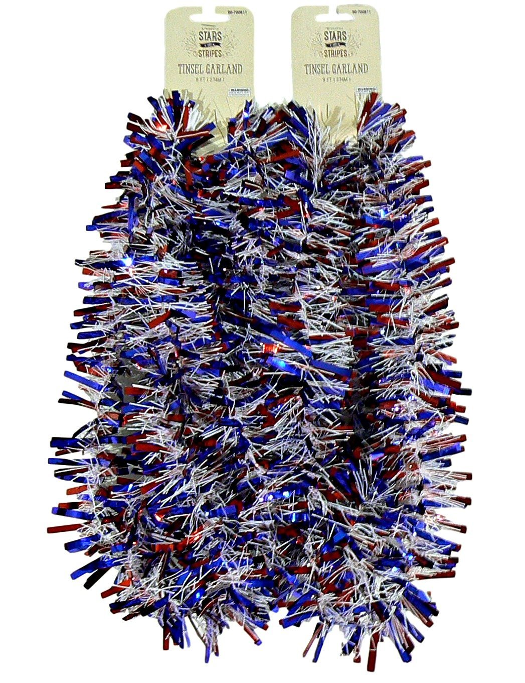 Momentum Brands Decorative Patriotic Red White and Blue Tinsel Garland – 2 pc 9 feet each (Red Blue Wide)