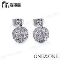 Wholesale Price Micro Pave Crystal CZ 18k Gold/ Rhodium Plated Stud Earrings for Women Fashion Jewelry
