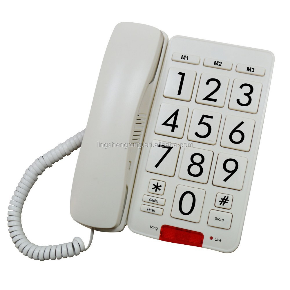 Big Button Land Line Phone with 3 One Touch Speed Memory Buttons