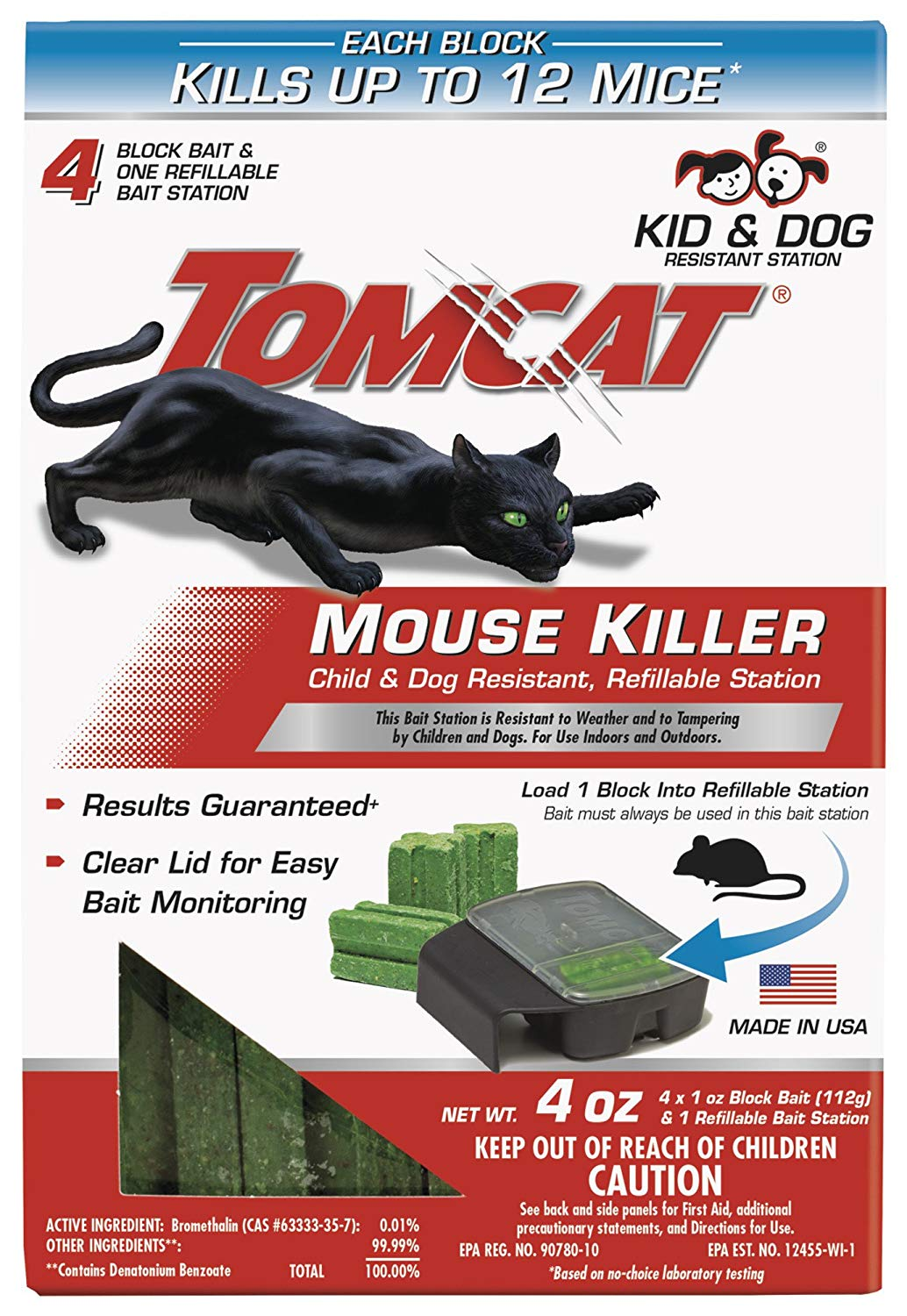Tomcat 371710 Mouse Killer Refillable Station for Indoor/Outdoor Use - Child & Dog Resistant (1 Case of 12 Stations, with 4 Baits Each)