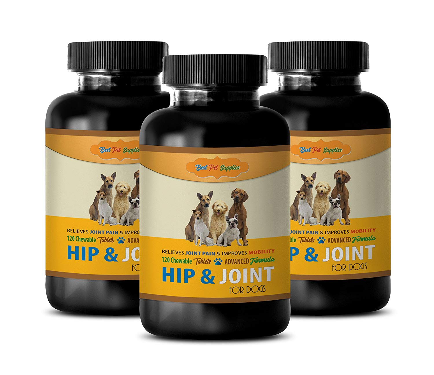 BEST PET SUPPLIES LLC puppy joint health supplement - NATURAL HIP AND JOINT COMPLEX - DOGS FORMULA - PREMIUM TREATS - msm for dogs joint support - 360 Chews (3 Bottle)