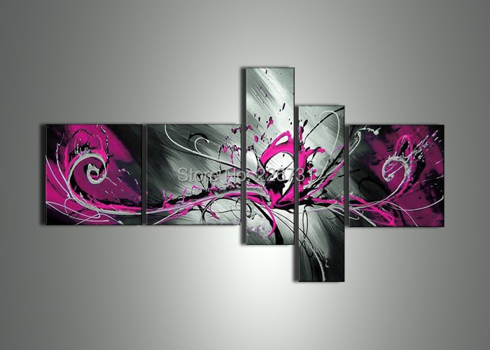 Pink Abstract Canvas Art: Handmade 5 Piece Black White Red Pink Modern Abstract Oil