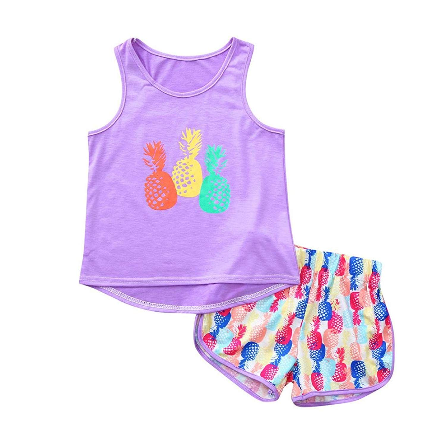 Kehen Kids Toddler Girls Summer Clothes Home Pajamas Pineapple Print Vest Tops T-Shirt Shorts Outfits Set