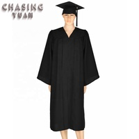On Sale Wholesale Black Matte Graduation Gown and Cap with Tassels 2019