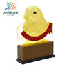 Customized 3D Eagle logos mark cup 999 gold plating metal qatar trophy with wooden base