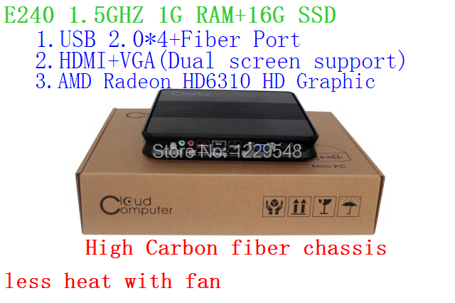 Discount mini pcs zero client with AMD E240 1 5Ghz onboard CPU 1G RAM 16G  SSD Windows or Linux proloaded Radeon HD6310 HD