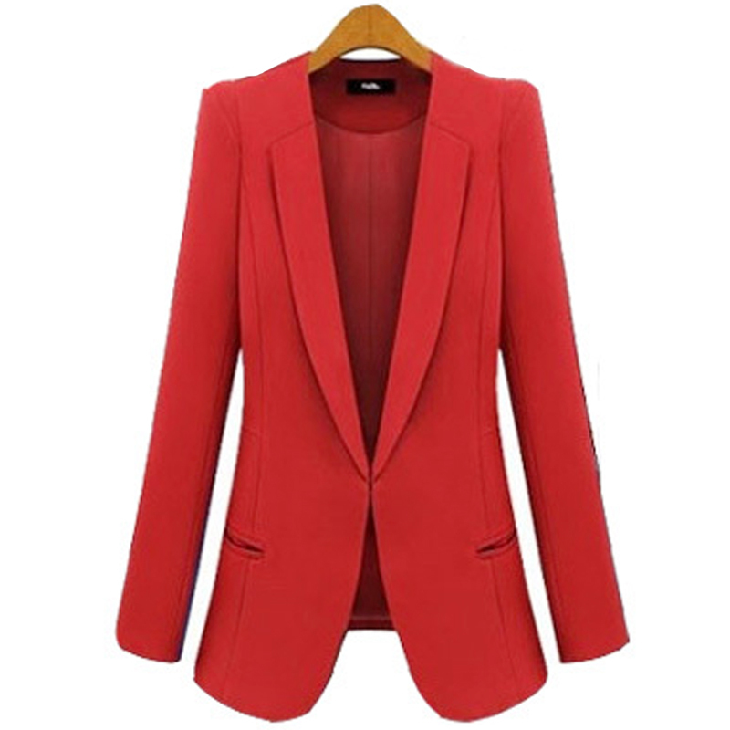 finest selection 9a6f1 cf2d8 Get Quotations · S-4xl Plus Size Fall Women Blazers 2014 Solid Red blue Top  Quality Pad