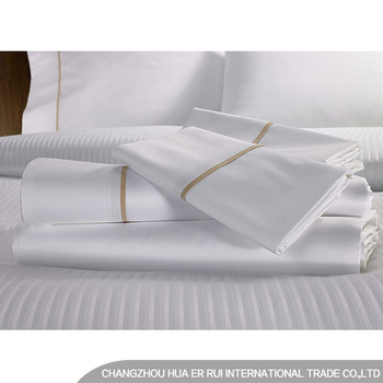 100% Cotton Hotel Stripe Bed Sheets / Luxury Bed Linen Set