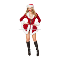 Winter Christmas Adult Sexy Costumes For Women Two Piece Chic Velvet Santa Costume Disfraces Halloween Mujer Black Friday