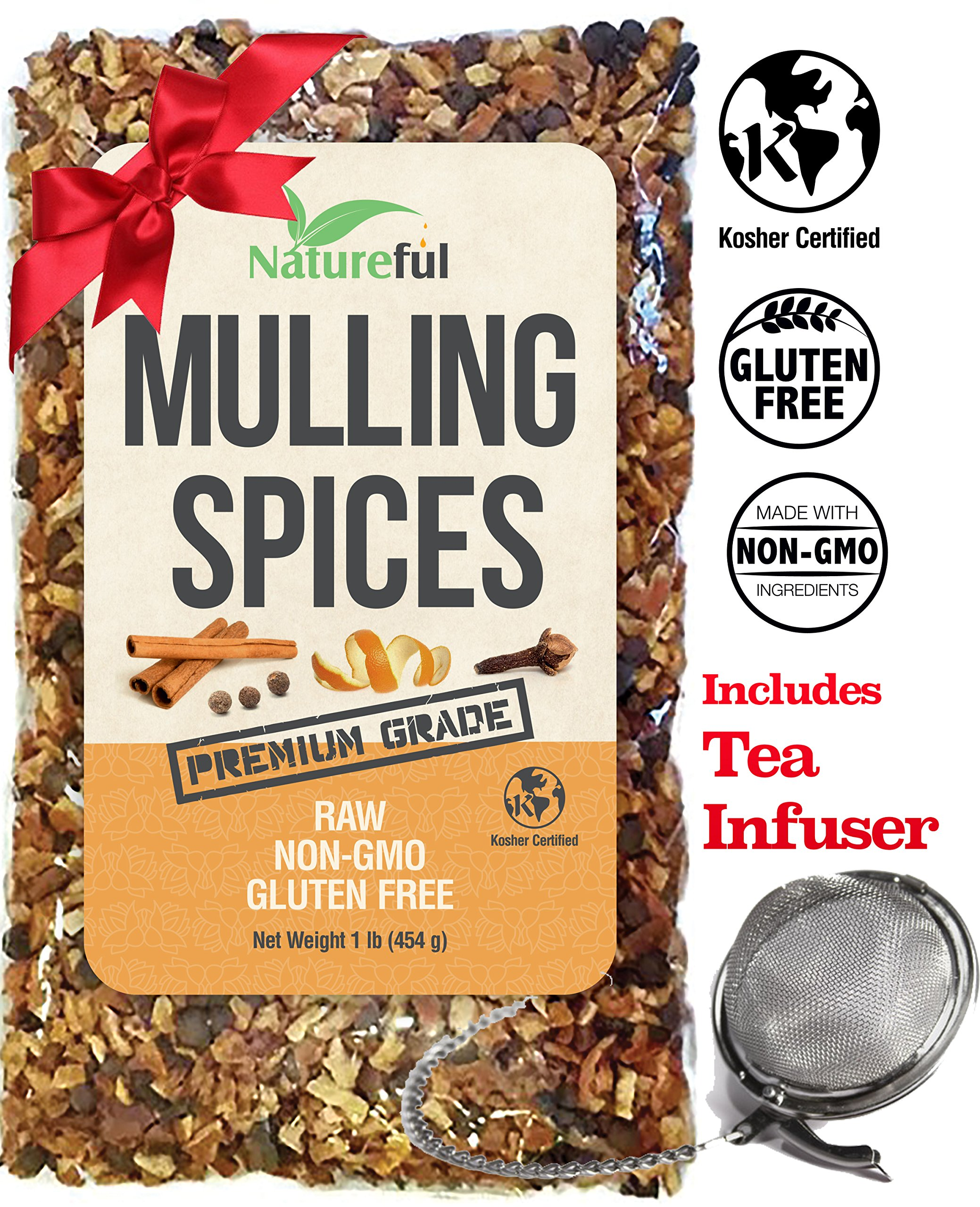 "Mulling Spices for Mulled Wine Apple Cider Teas Kit: Holiday Special with Free 2"" Tea Strainer - Infuser! Original 1 Pound Bulk Bag - Mix of Orange Peel, All Spice, Cloves, Cinnamon Sticks Blend."