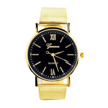 a82b13a8226 Atacado Simples Genebra Homens Relógio de Quartzo Moda Cinto de Malha de  Ouro Relógio de Pulso