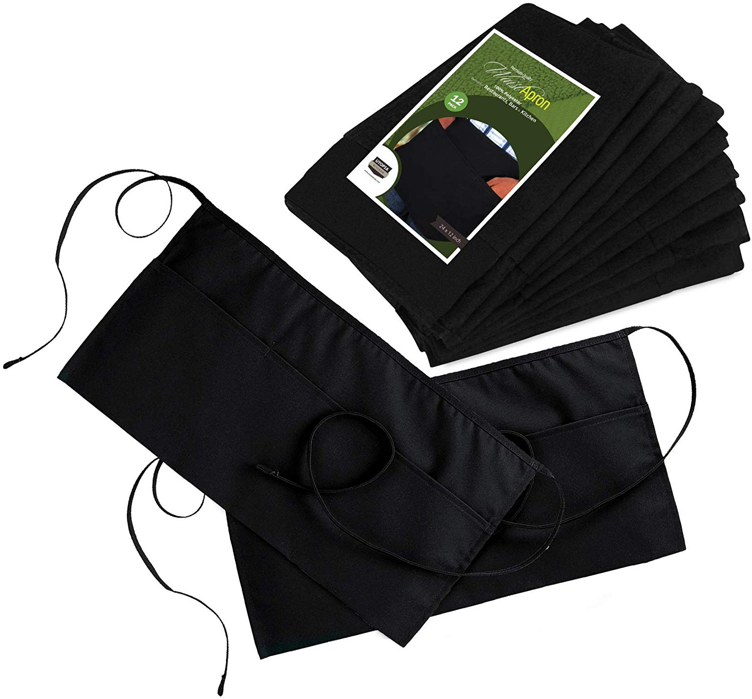 Utopia Wear Waist Aprons with 3 Pockets, Professional Grade for Home or Professional Kitchen, Durable, Comfortable, Easy Care (96 Pack)