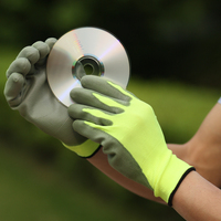 NMSAFETY 2016 best selling winter gloves hi-viz green nylon coated green PU gloves