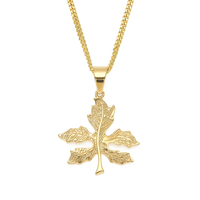Stainless Steel Chain Necklace Long 24k Gold 3D Natural Leaf Shape Pendant Necklace For Man