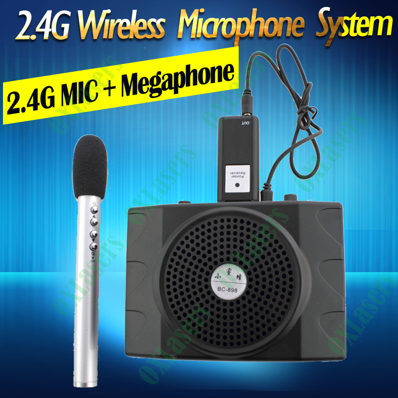 oxlasers 2 4g mini portable wireless microphone system with megaphone for conference teacher. Black Bedroom Furniture Sets. Home Design Ideas
