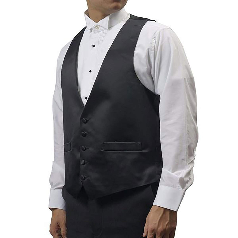 18731de1a57034 Get Quotations · Broadway Tuxmakers Mens Black Five Button Vest with Satin  Back