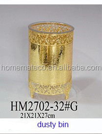 fashion gold metal serving tray for home decoration and wedding for food with cap