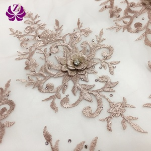 China Factory Wholesale price rose gold African Dress making embroidered 3d african lace fabric