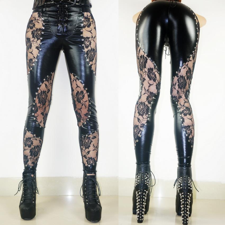 964218caea78d 50% discount Plus Size Women Punk Rock Leggings Heavy Metal Studded Lace  Faux Leather Pants