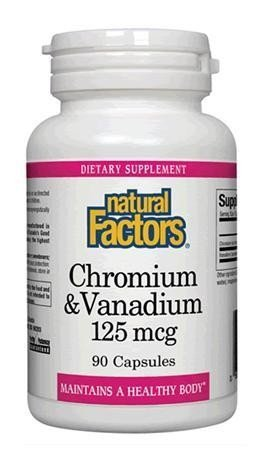 Natural Factors - Chromium & Vanadium 125mcg, Promotes Healthy Blood Sugar Levels and Heart Health, Non-GMO, 90 Capsules