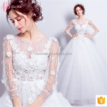 Lace appliued long sleeve white ball gown plus size dress wedding