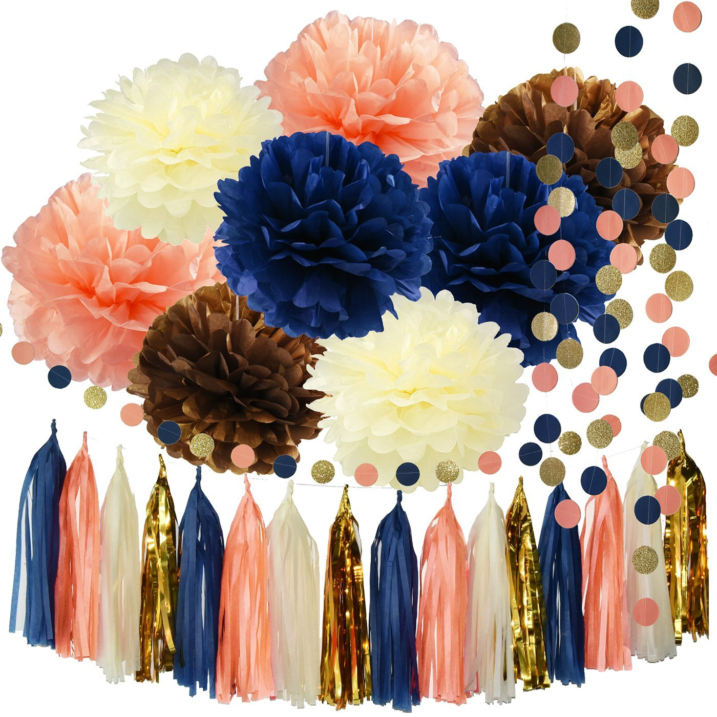 Get Quotations Bridal Shower Decorations Qians Party Navy Peach Glitter Gold Birthday Tissue Paper Pom Tassel