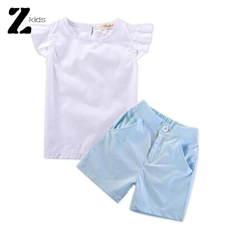 2015 New Arrival Baby Girl Clothing Set Summer Children T Shirts + Short Pants 2-8 Years Roupas Bebes Retail Clothes 2 Pc Outfit