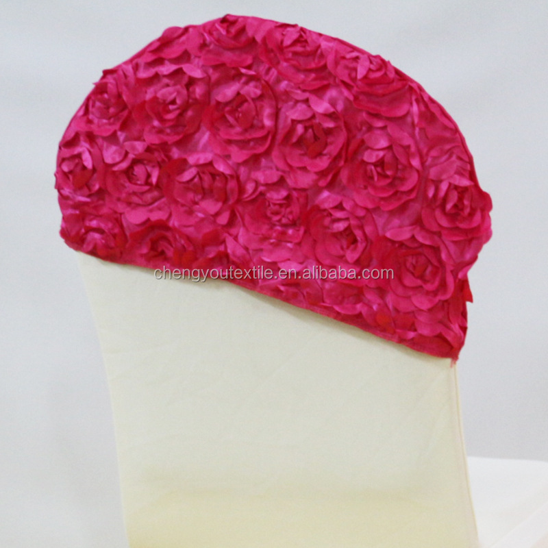Rose Red Spandex Chair Cover/Rosette Chair Cover Cap for Wedding Decoration