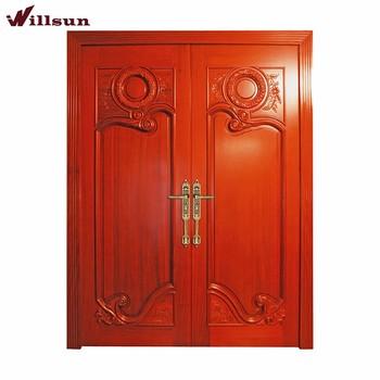 Elegant teak wood main front entry double door carving for Elegant main door designs