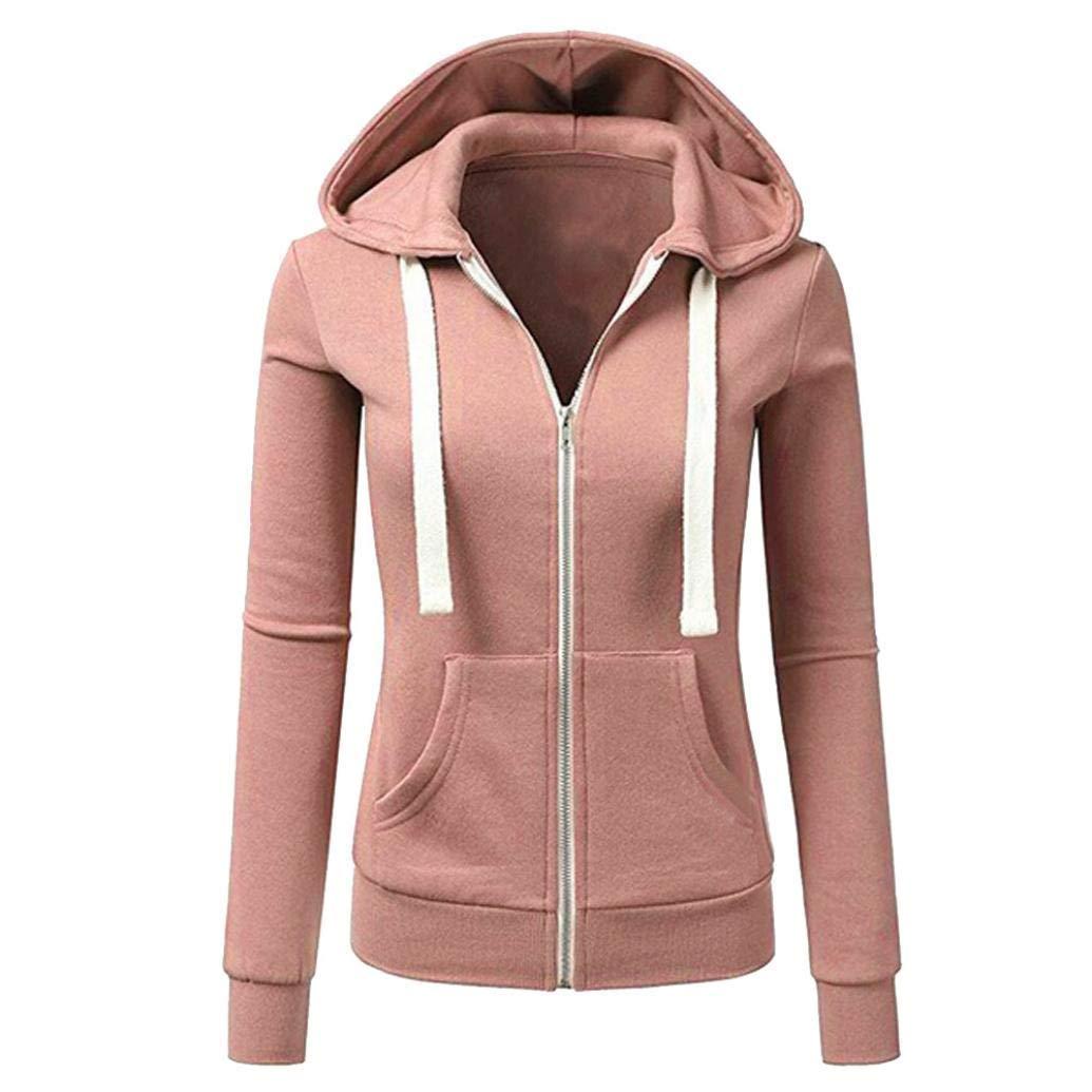 Sikye Hooded Zipper Coat Women Solid Color Casual Fitness Jacket Coat Hooded Sweatshirt Pocket